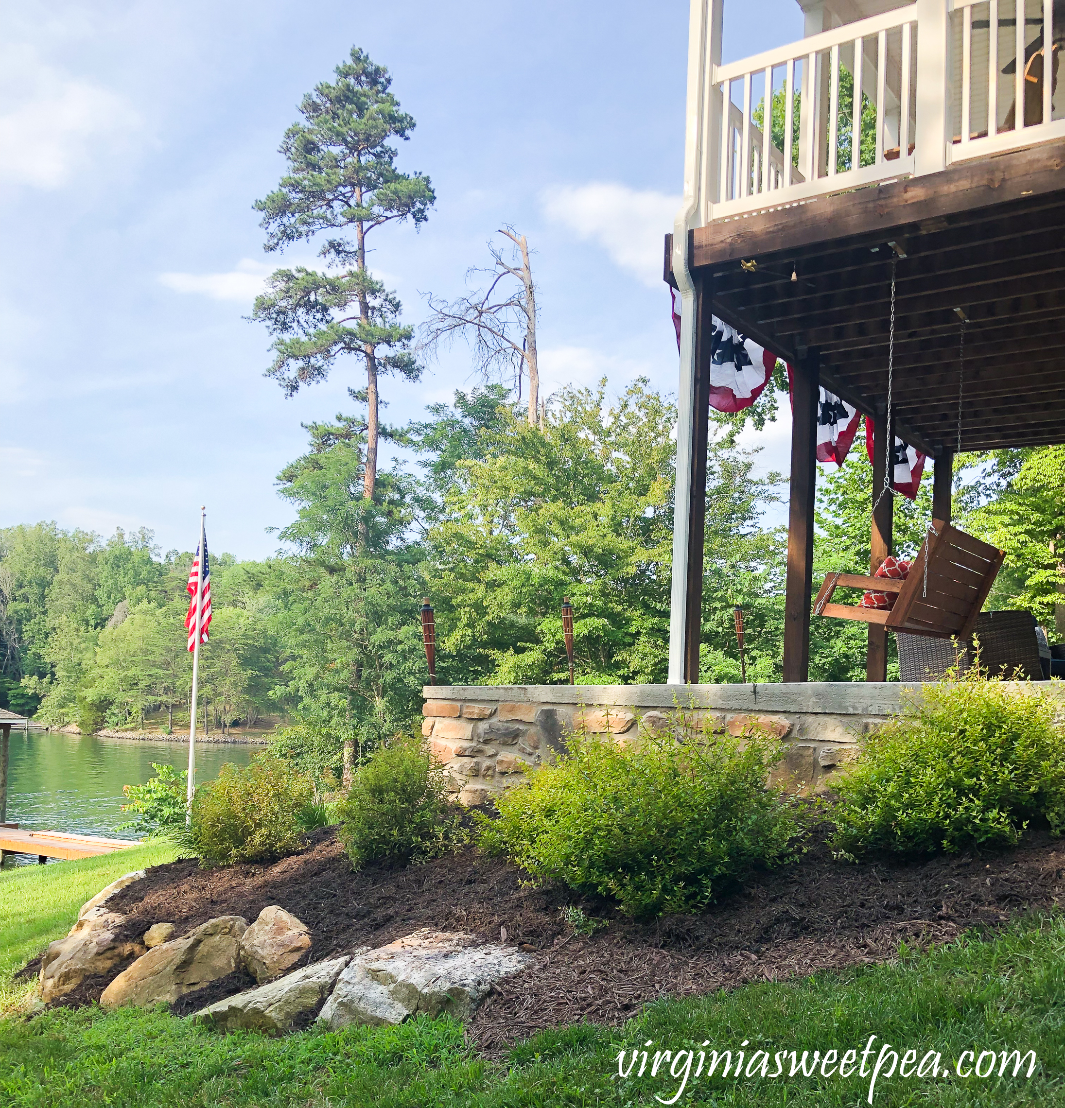 Deck and Patio lake view at Smith Mountain Lake, Virginia house