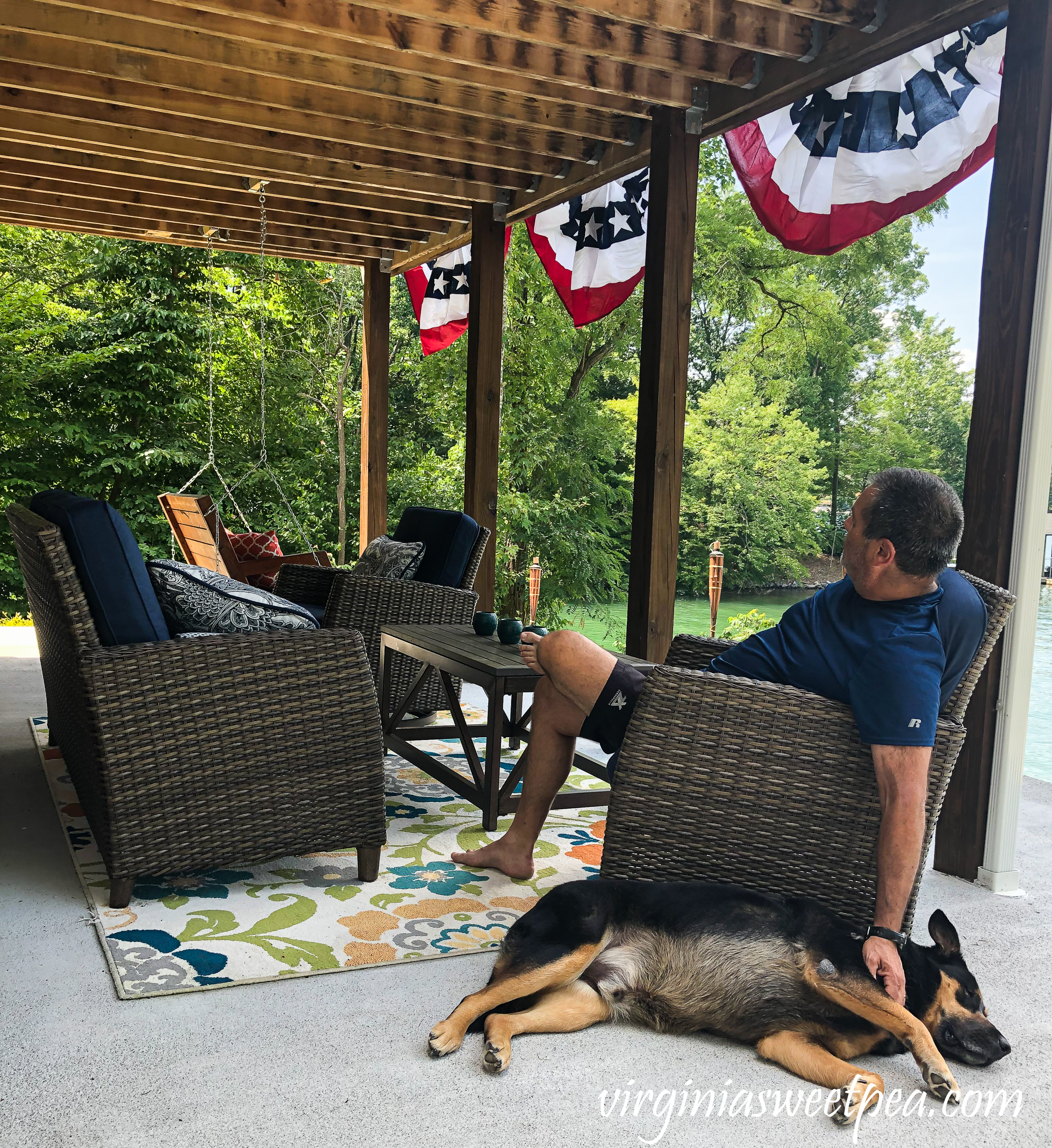 Relaxing on the patio at Smith Mountain Lake