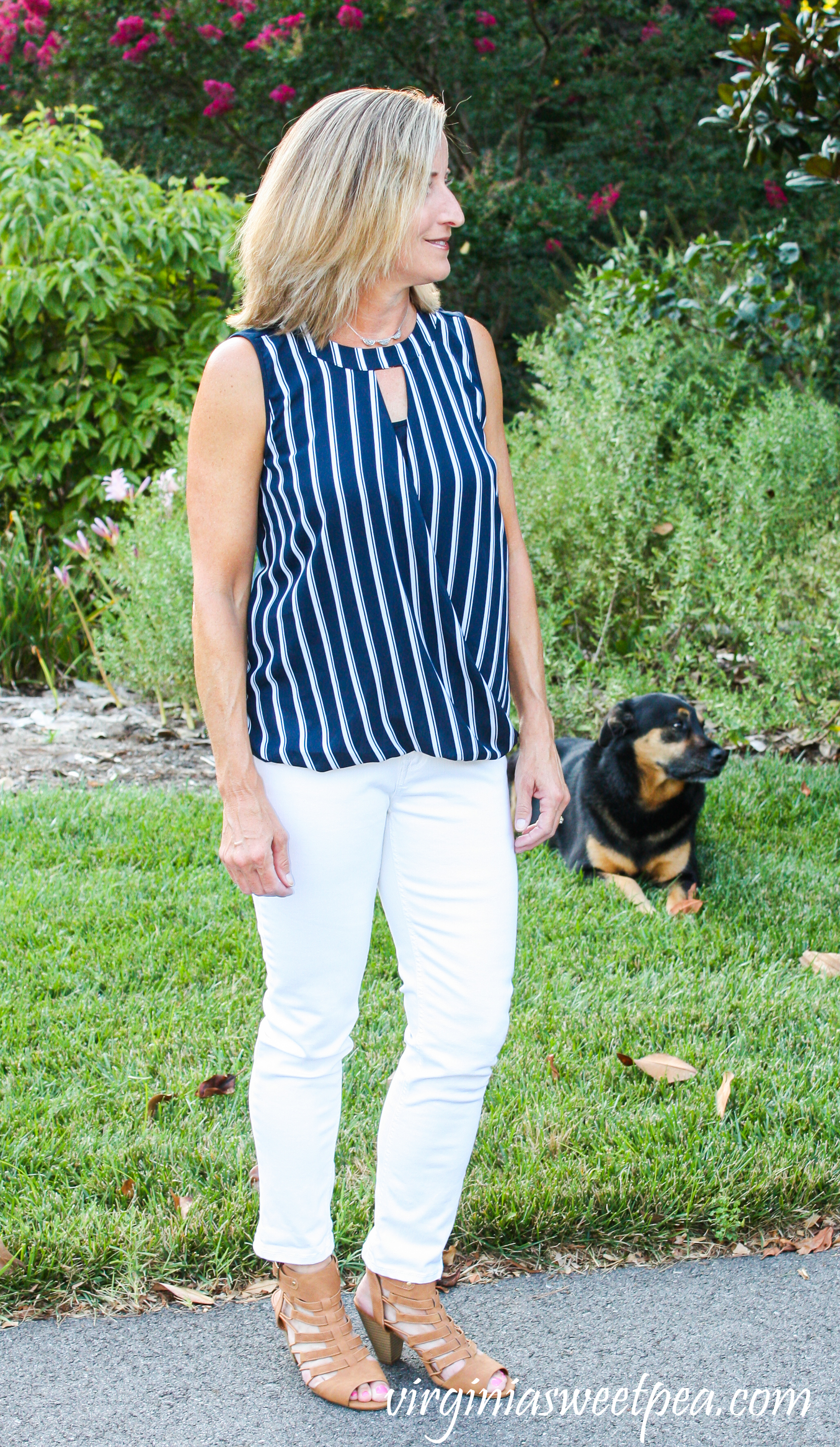 Stitch Fix Review for August 2019 - 41 Hawthorn Clearwater Mixed Material Blouse