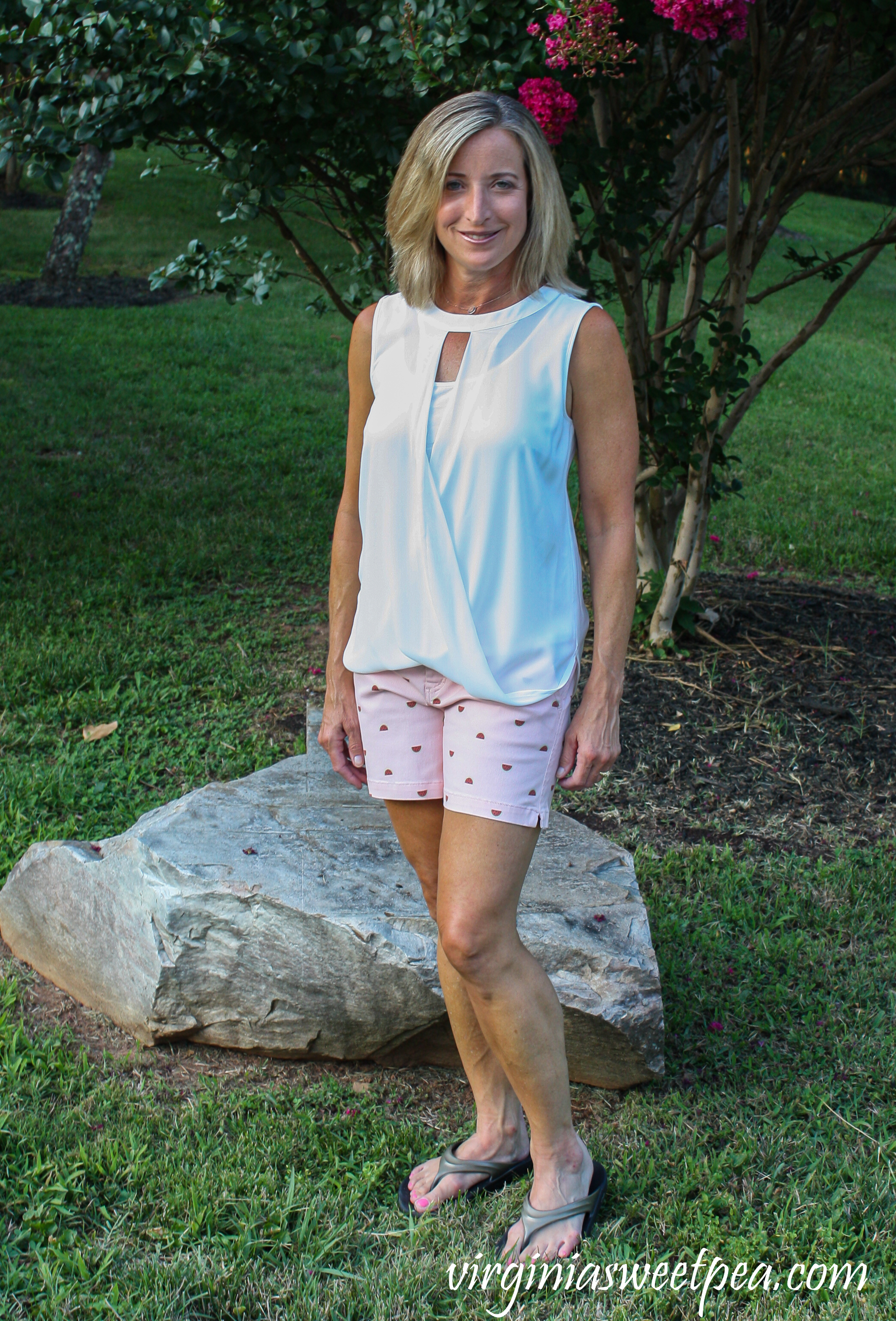 Stitch Fix Review - 41 Hawthorn Clearwater Mixed Material Blouse with Market & Spruce Lorraine Printed Shorts
