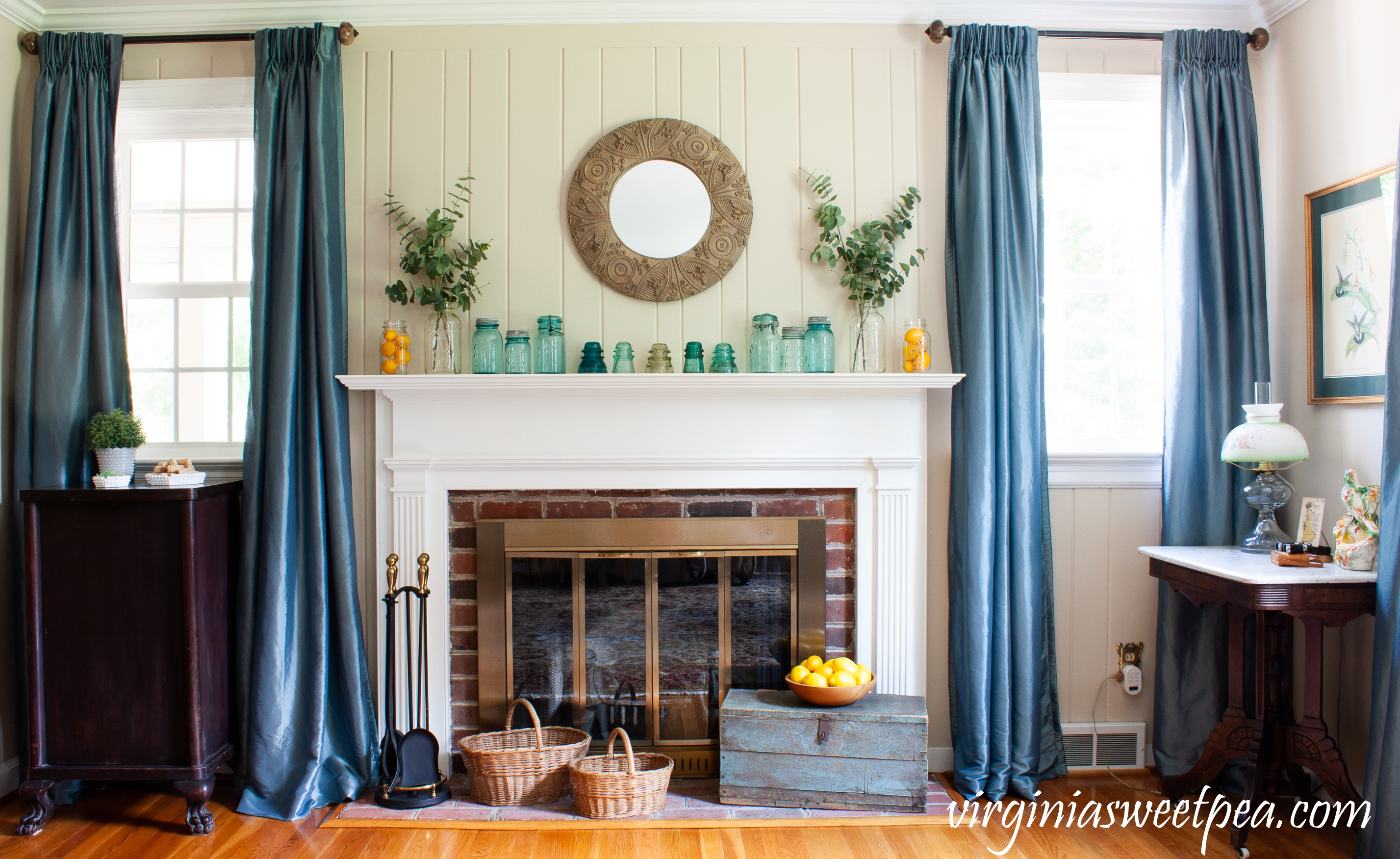 Summer decorations in a formal living room.