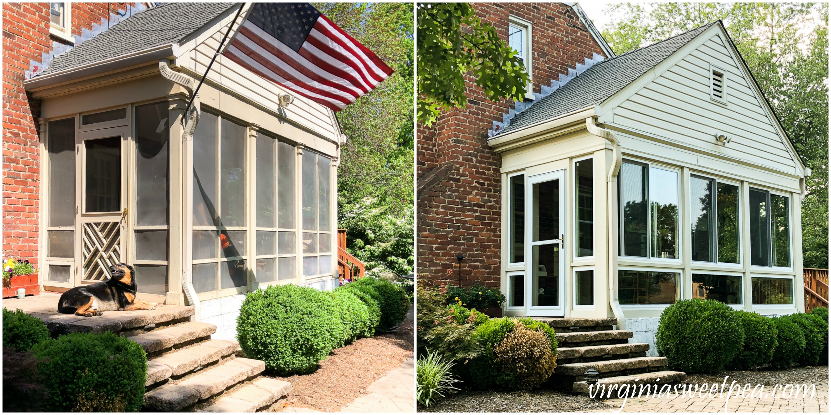 Before and After pictures of converting a screened porch into a sunroom.