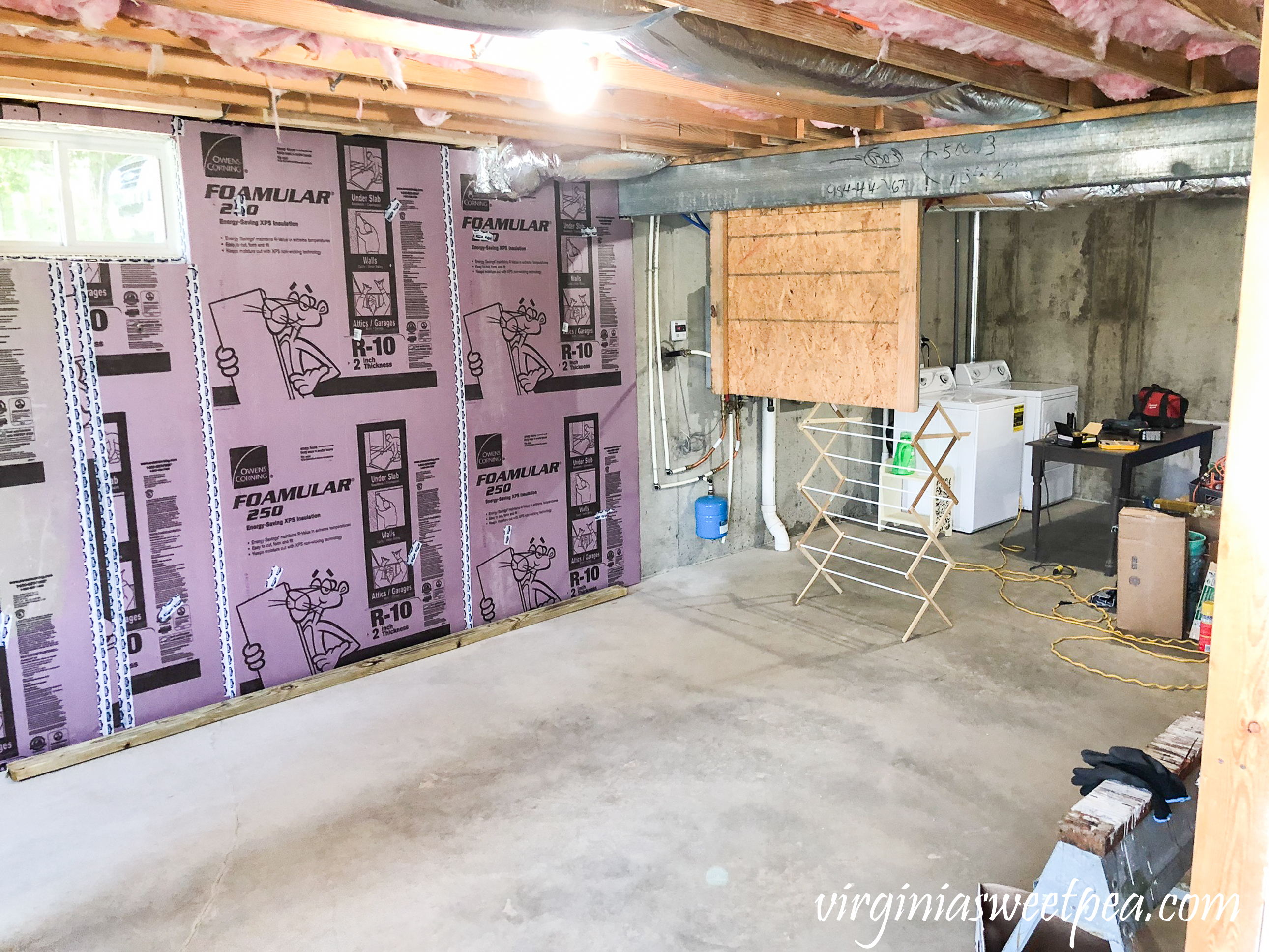 Lake House Basement Project - Adding insulation