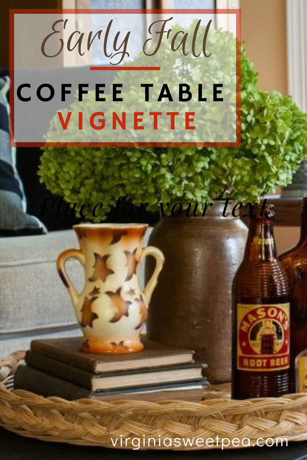 Early Fall Coffee Table Vignette - Get ideas for decorating a coffee table for fall. #falldecor #fallcoffeetable #fallvignette #coffeetabledecor #falldecorations via @spaula