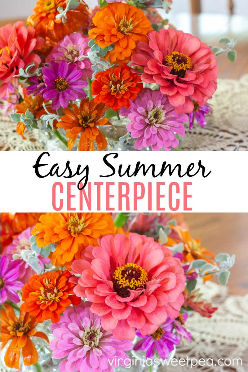 Easy Summer Centerpiece - Making a summer centerpiece for your table is simple with this easy way to arrange flowers. No floral design skills are needed to make this centerpiece. The same method can be used to make a centerpiece in any season. #centerpiece #summercenterpiece #tablecenterpiece #floraldesign #flowerarrangement #easyflowerarrangement #easycenterpiece via @spaula