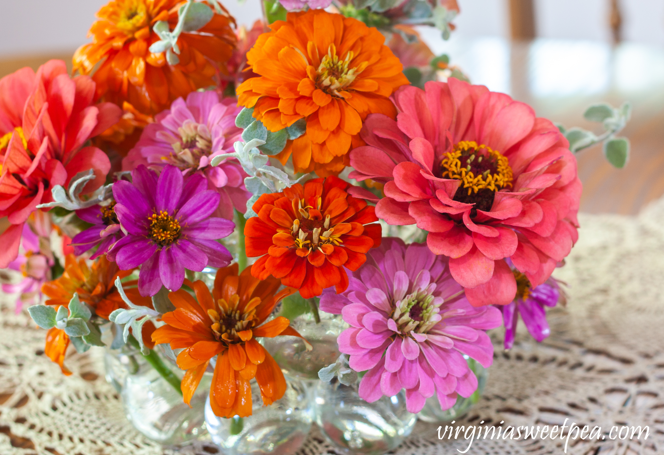 Zinnias used in a summer flower arrangement.