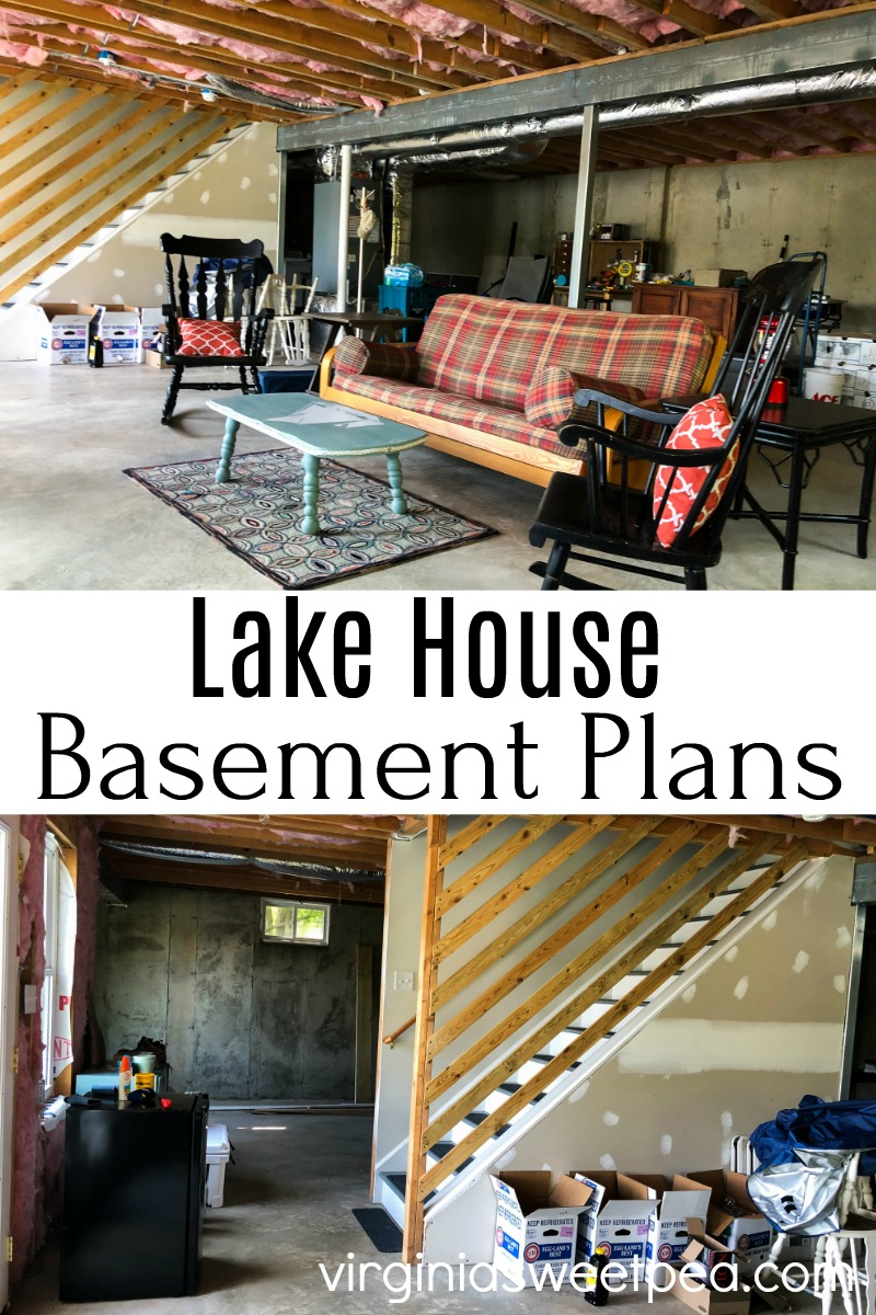 Lake House Basement Project Plans - Plans for during an unfinished basement into a beautiful and cozy area for relaxing with gorgeous lake views.  #basement #basementrenovation via @spaula