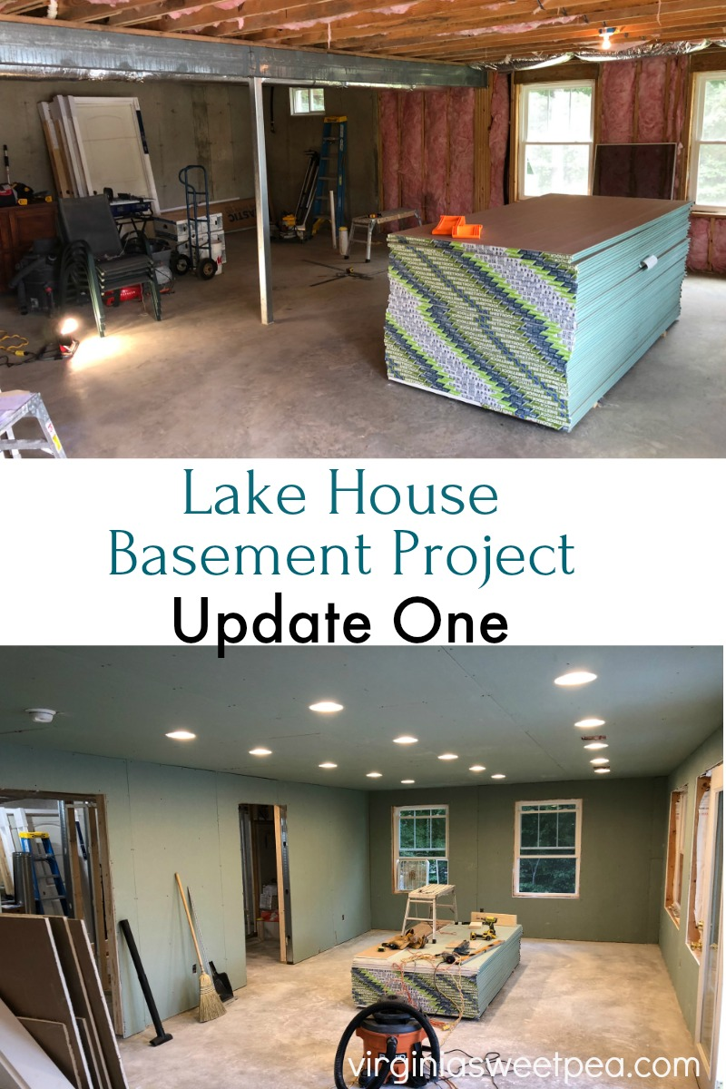 Lake House Basement Update - See the progress as an unfinished basement is transformed into a family room, bathroom, and office.