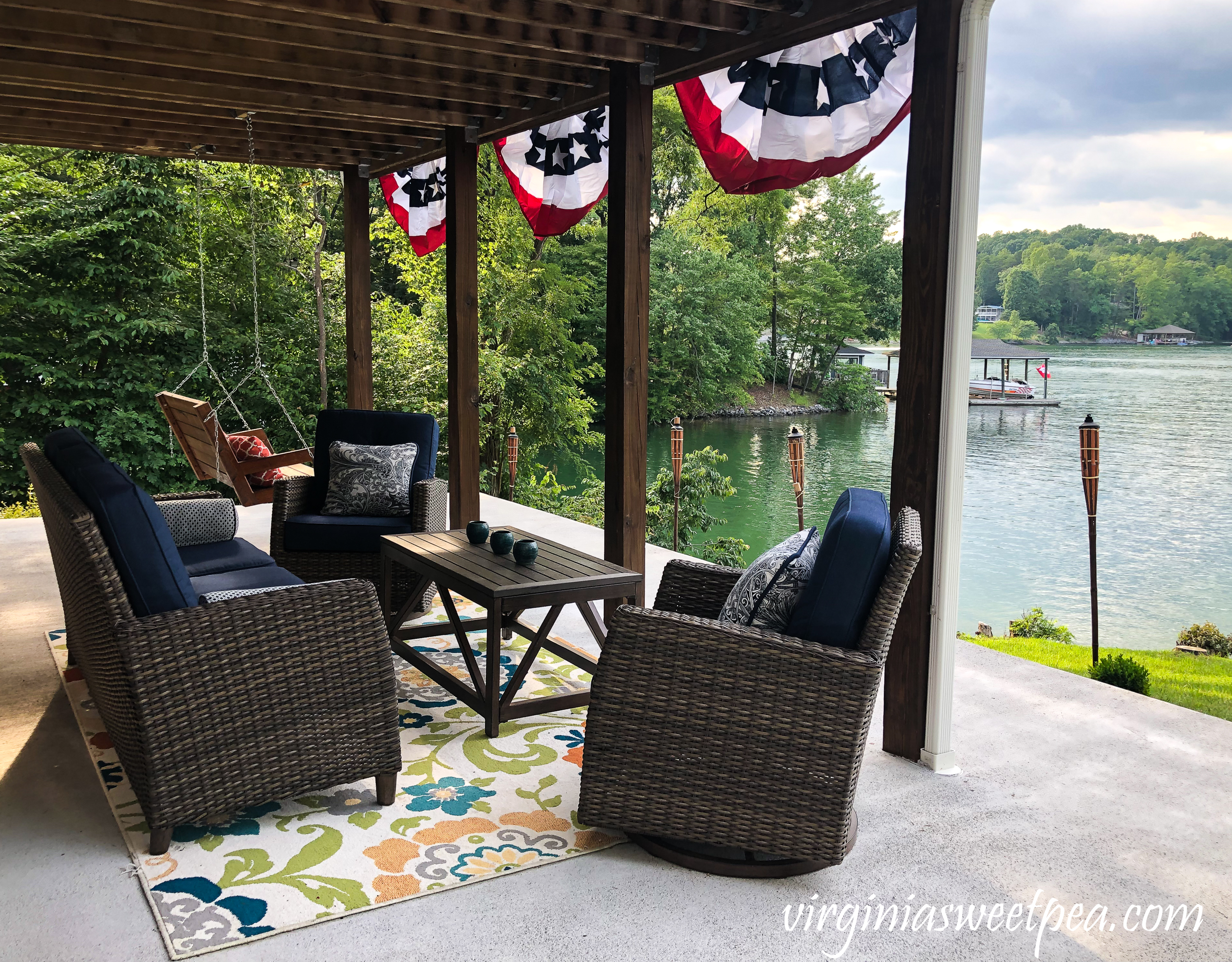 Patio with a view of Smith Mountain Lake in Virginia