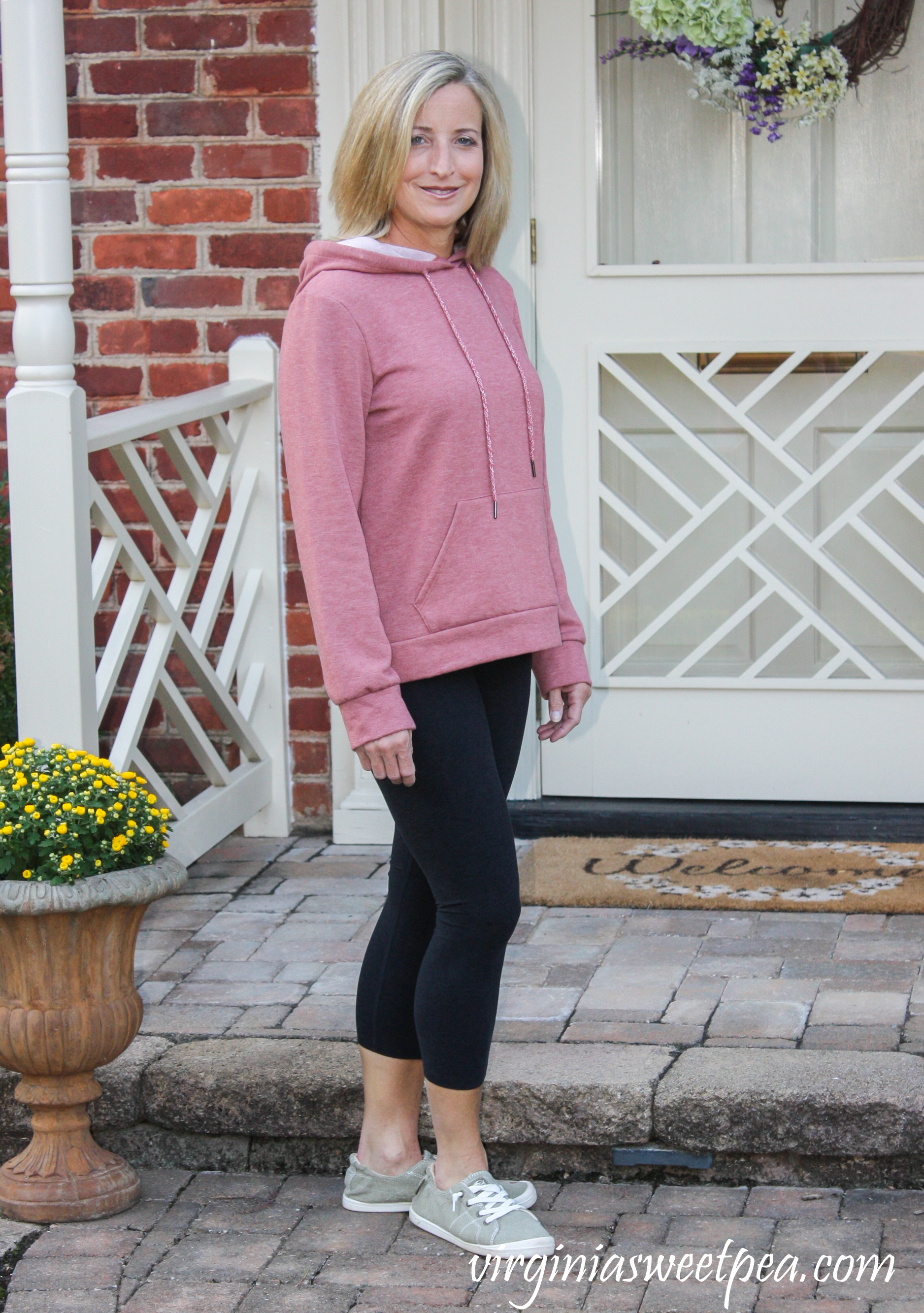 Stitch Fix Colette Tao Hooded Knit Top and Beyond Yoga Harlow Space-Dye Capri Leggings