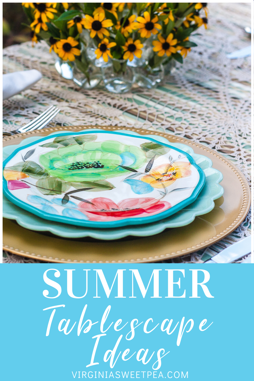 Summer Tablescape Ideas - Get ideas for setting a summer table from 20 home decor bloggers.  You are sure to be inspired for your next dinner party or casual get together.  #summertablescape #summertable  via @spaula