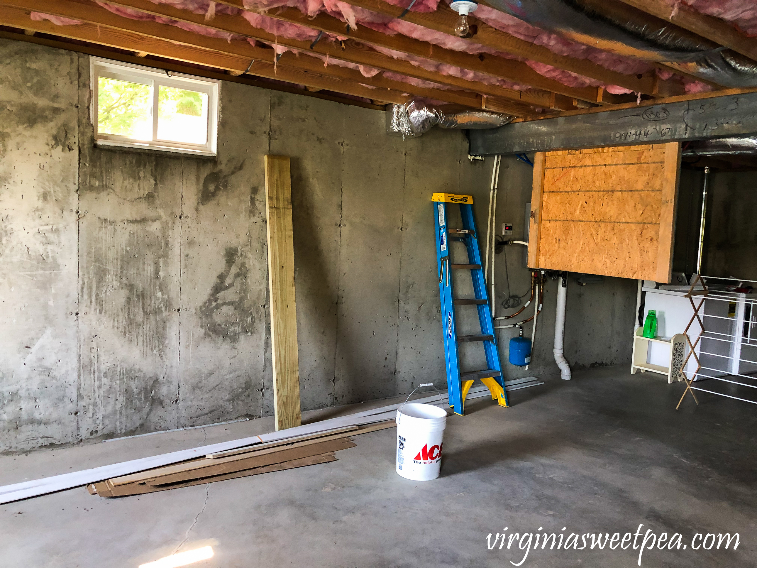 Unfinished basement at Smith Mountain Lake, VA