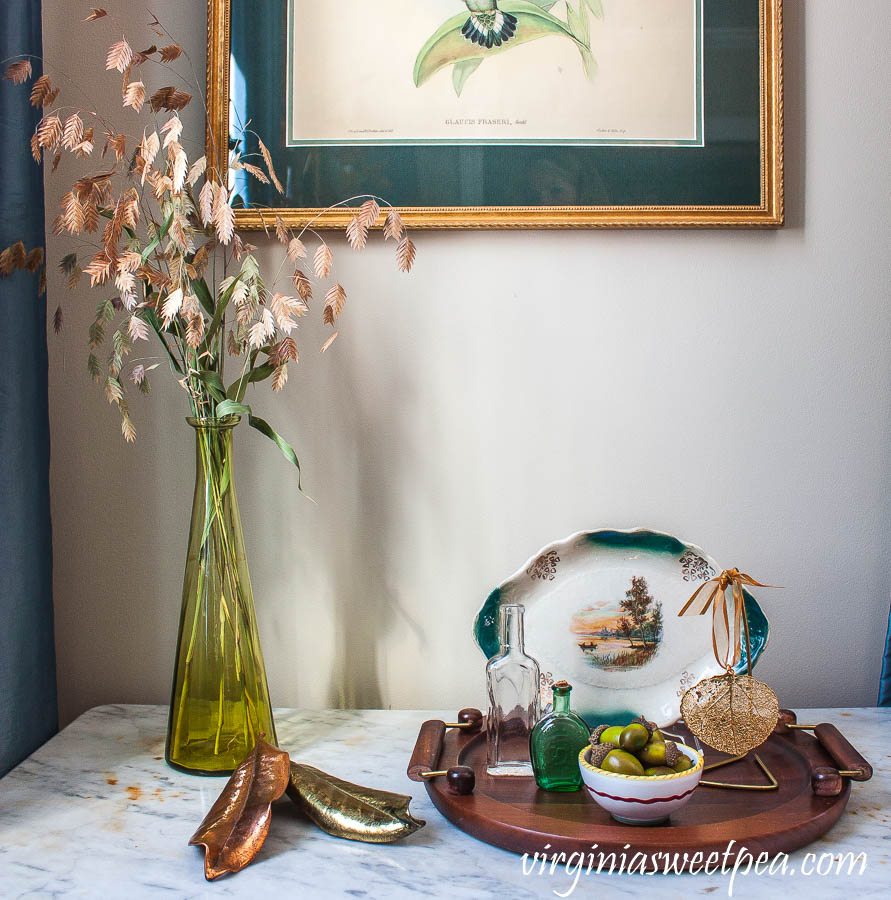 Fall vignette in a formal living room