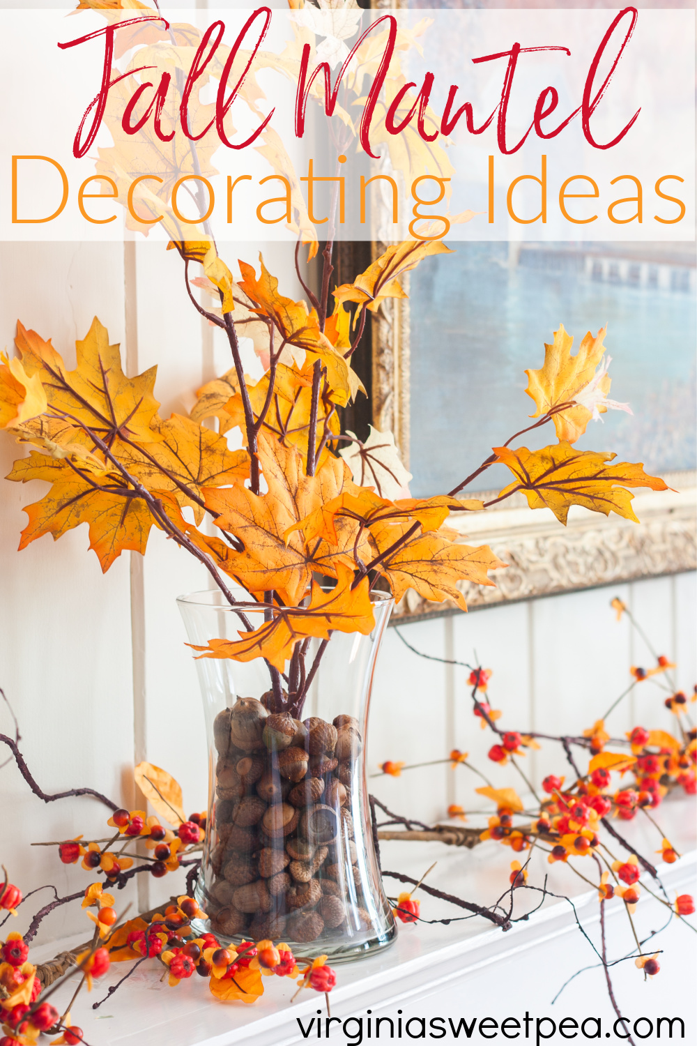 Fall Mantel Decorating Ideas - Get ideas for decorating a mantel for fall.  #fallmantel #fallmantelideas #falldecorating #falldecoratingideas via @spaula