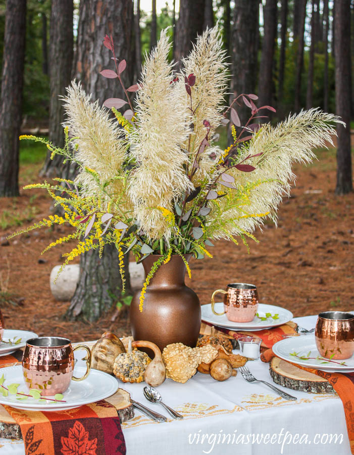 Fall Flower Arrangement with Pampas Grass, Fireworks Goldenrod, and Chinese Fringeflower