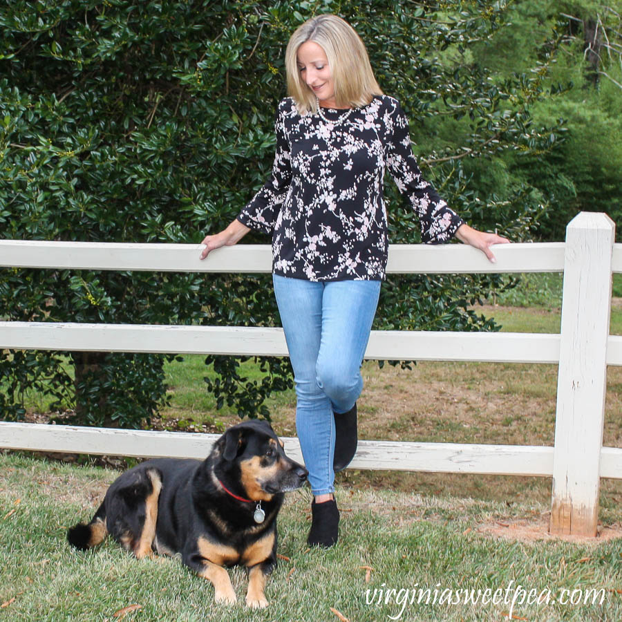 Stitch Fix Review for October 2019 - Karl Lagerfeld Paris Yessie Trumpet Sleeve Knit top