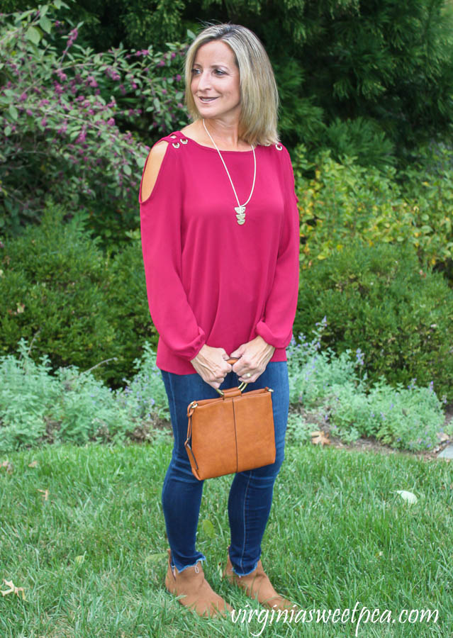 Stitch Fix Review for October 2019 - Papermoon Ilma Cold Shoulder Grommet Detail Blouse with Sole Society Handbags Duff Crossbody
