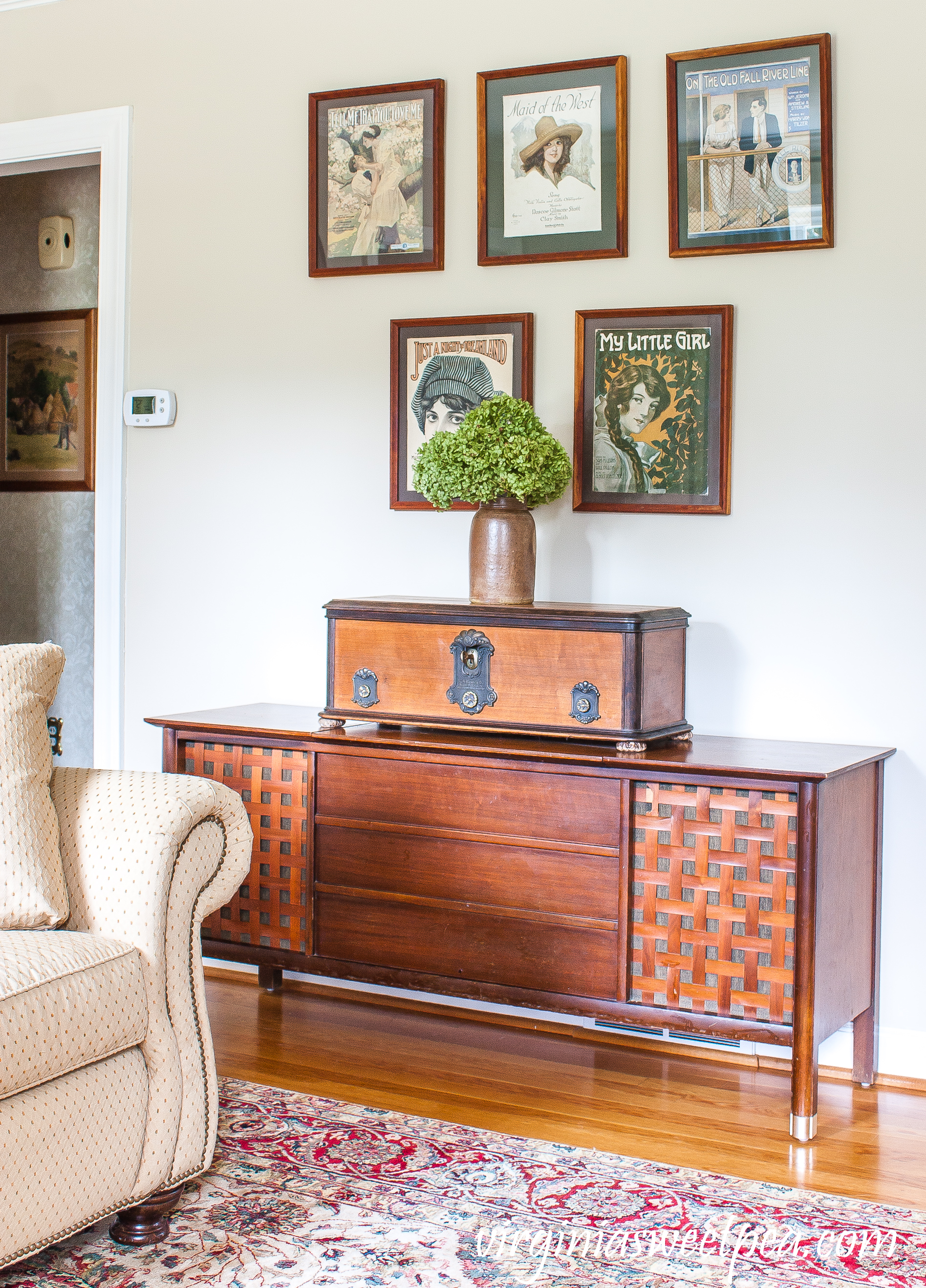 1960's stereo console with an antique radio and collection of WWI sheet music