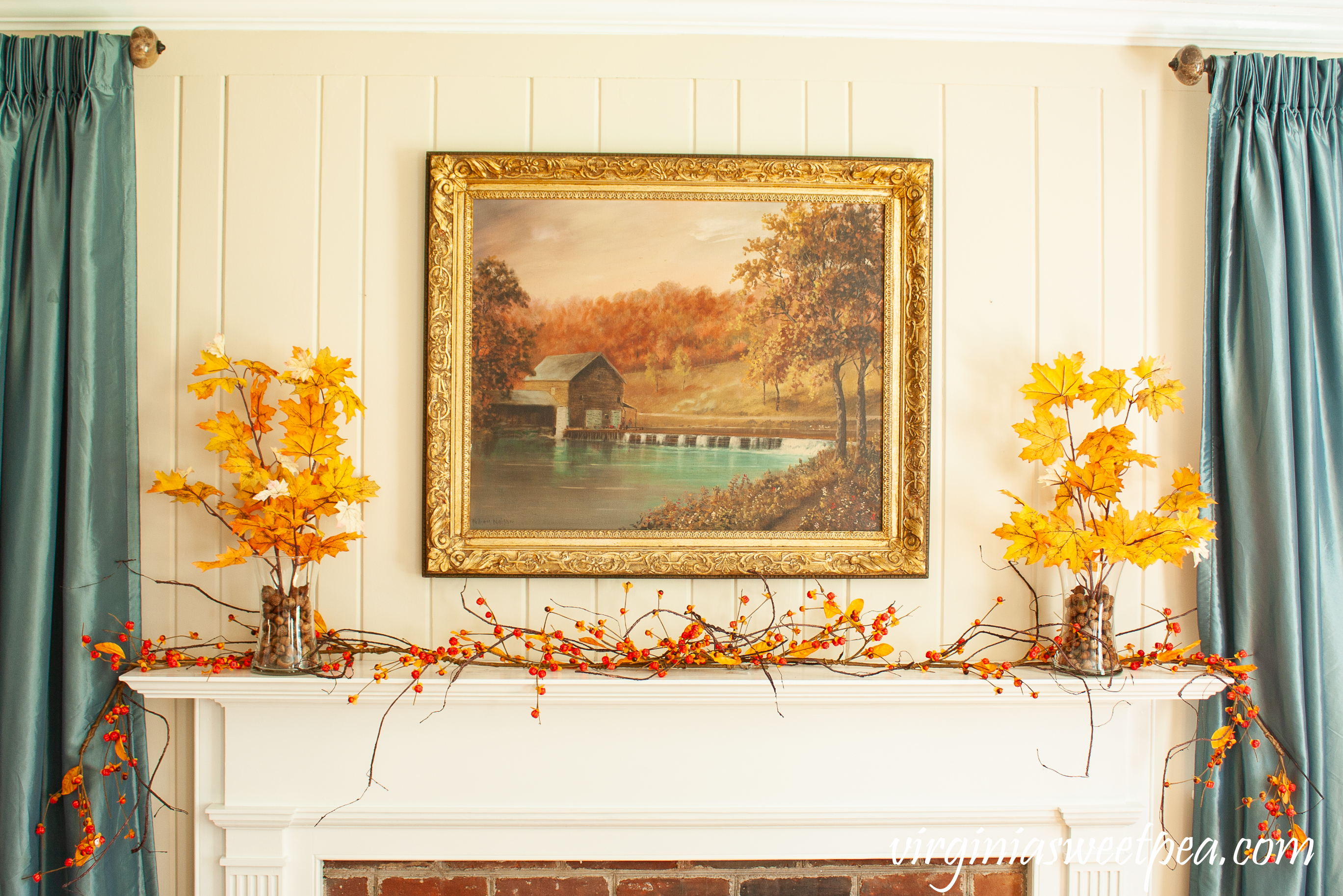 Traditional Fall Mantel - A mantel decorated with a painting of a mill in Sussex County, NJ by William Miller along with fall foliage and bittersweet.