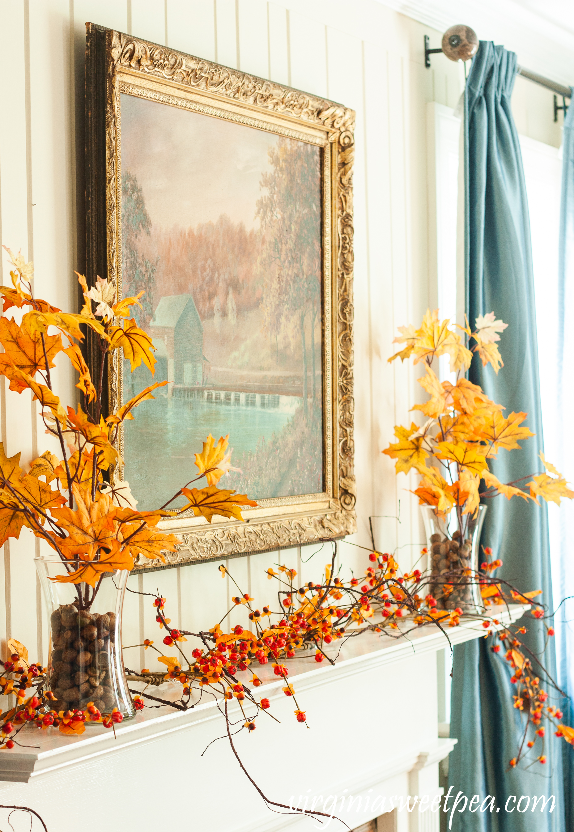 Traditional Fall Mantel - A mantel decorated with a painting of a mill in Sussex County, NJ along with fall foliage and bittersweet.