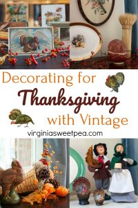 Decorating for Thanksgiving with Vintage - A living room is decorated for Thanksgiving with vintage.