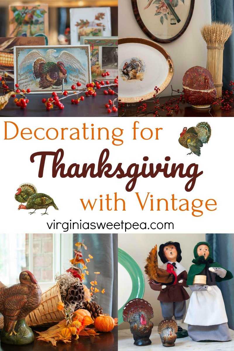 Decorating for Thanksgiving with Vintage - Get ideas for using vintage to decorate for Thanksgiving. #thanksgiving #thanksgivingdecor #thanksgivingdecorations #vintagedecor #virginiasweetpea via @spaula