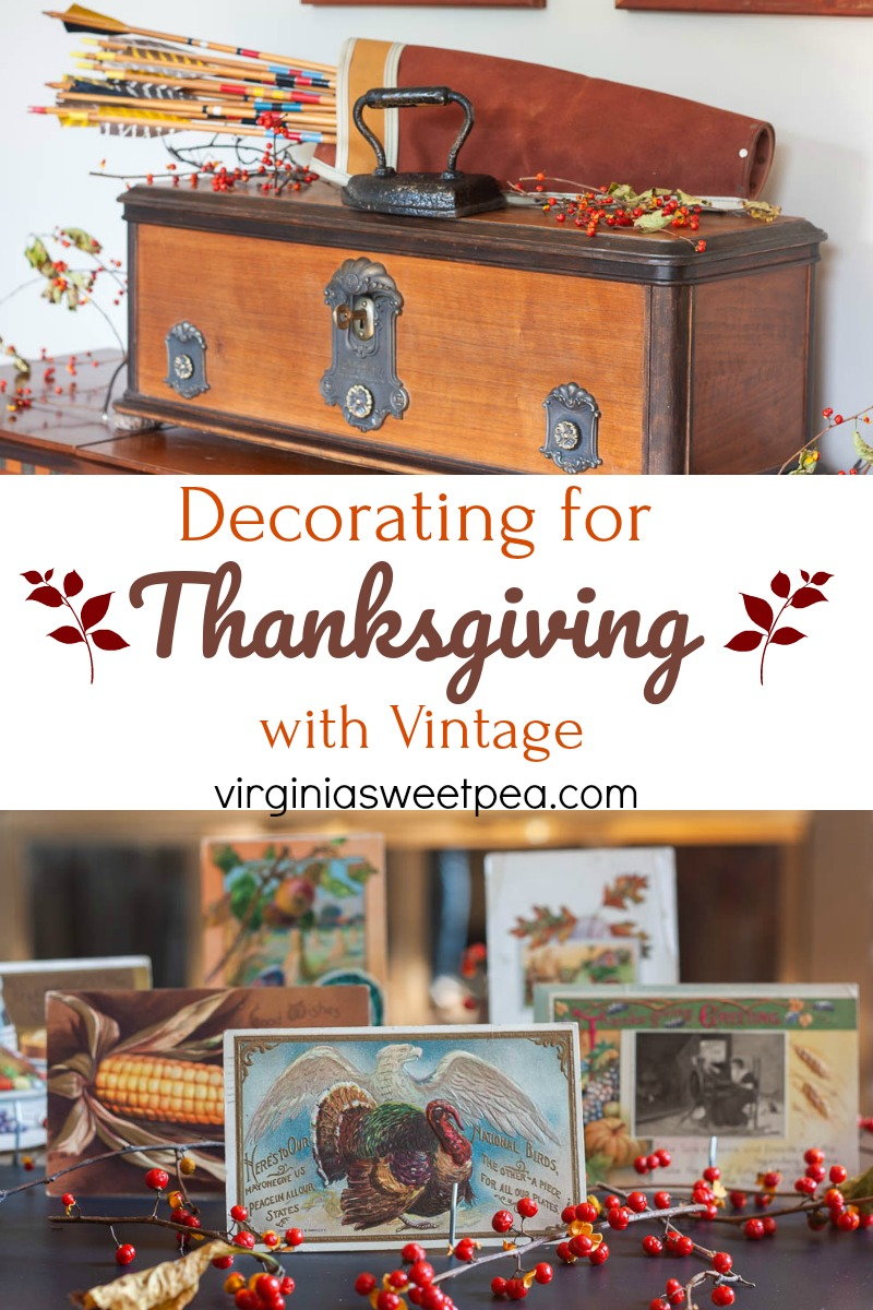 Decorating for Thanksgiving with Vintage - A living room is decorated for Thanksgiving with vintage.  #thanksgiving #thanksgivingdecor #thanksgivingdecorations #vintagedecor #virginiasweetpea via @spaula