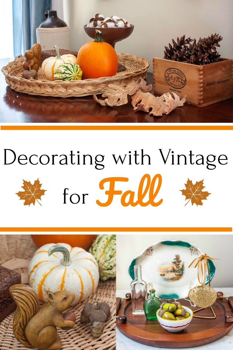 Decorating with Vintage for Fall - Get ideas for using vintage in seasonal fall decor.  #falldecorating #falldecorations #vintagedecor via @spaula