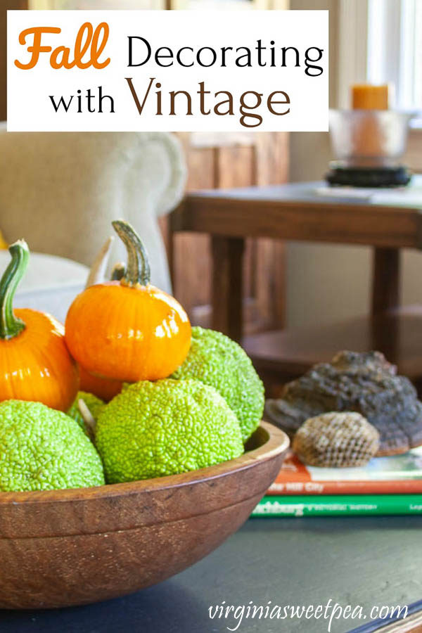 Fall Decorating with Vintage - Get ideas for incorporating vintage into fall decor.  #fall #falldecor #falldecorating #fallideas #falldecorating ideas #vintage #vintagedecor via @spaula