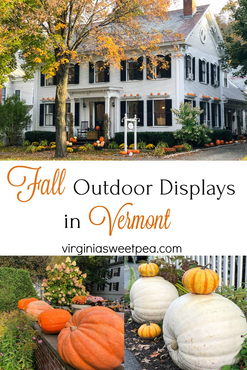 Fall Outdoor Displays in Vermont - See outdoor spaces decorated for fall in Vermont and use these decor ideas for your home. #falldecor #falloutdoors #fallwindowbox #fallpumpkins via @spaula