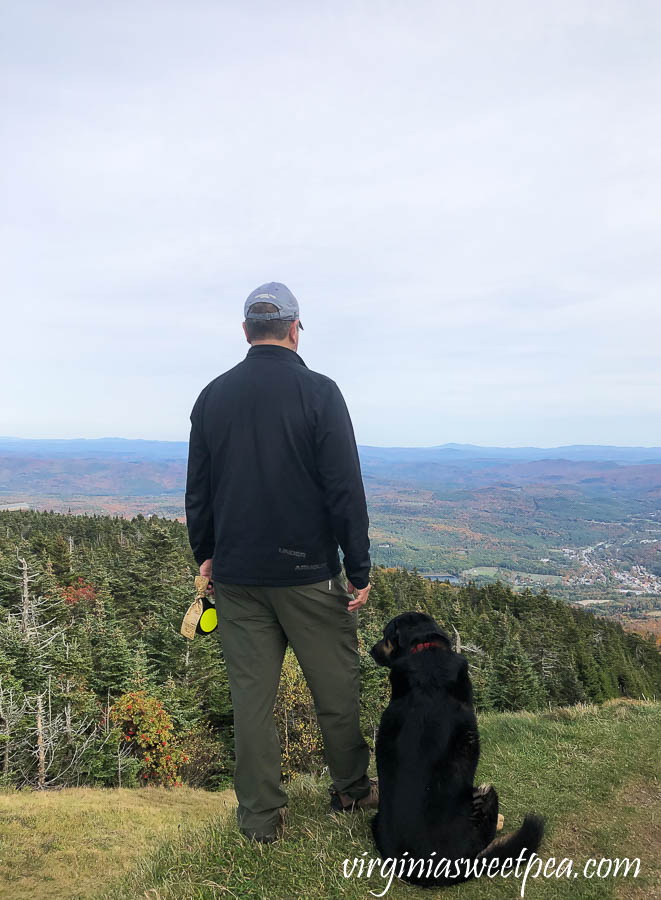 Sherman and David Skulina on the summit of Okemo Mountain in Vermont in fall
