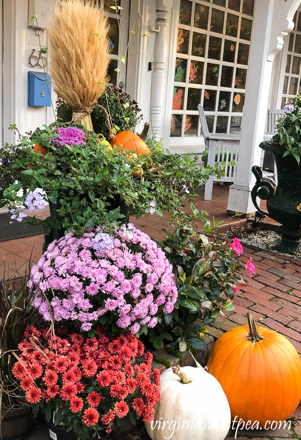 Fall planter in Woodstock, Vermont