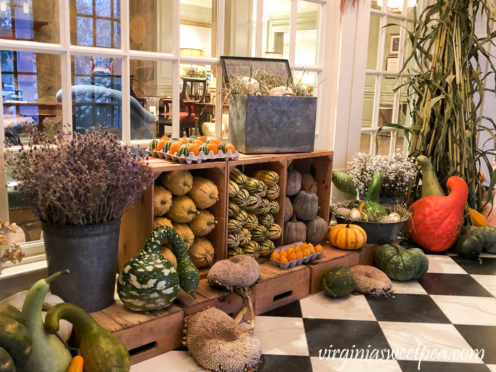 Foyer of the Woodstock Inn decorated for fall