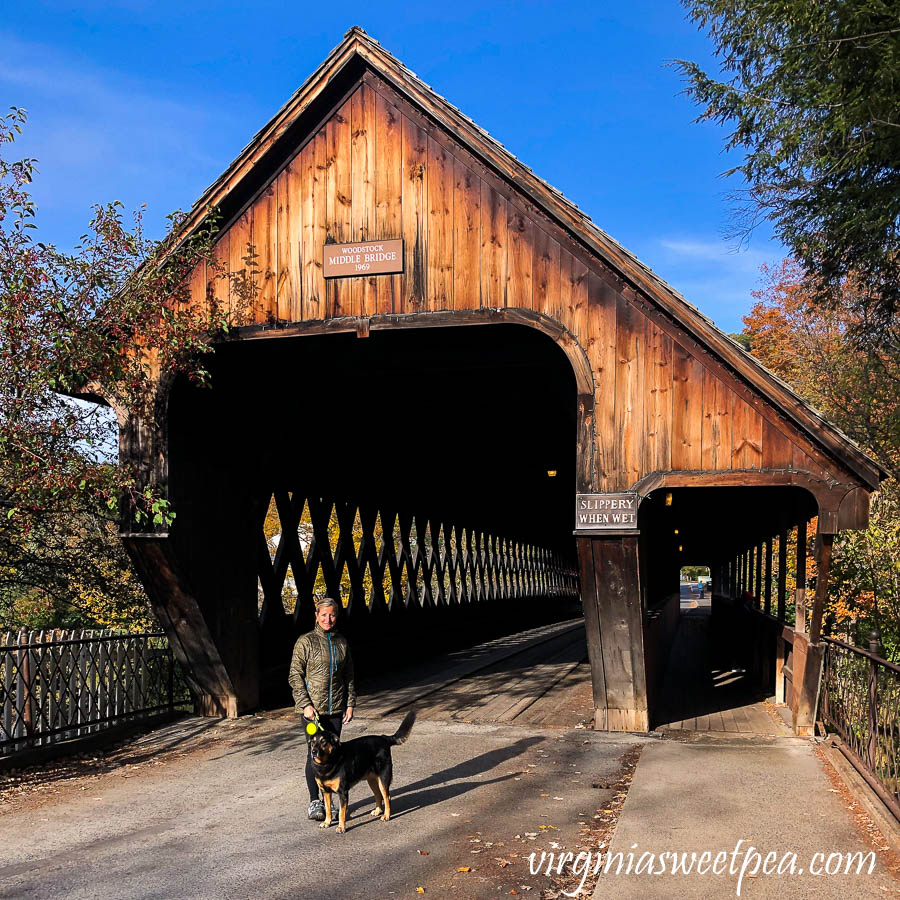 Sherman and Paula Skulina in front of the Woodstock Middle Bridge in Woodstock, Vermont