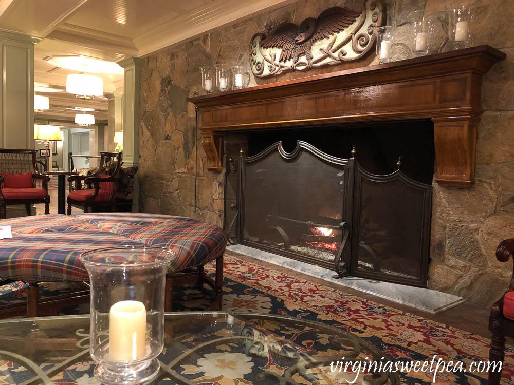 Fireplace at Woodstock Inn in Woodstock, Vermont