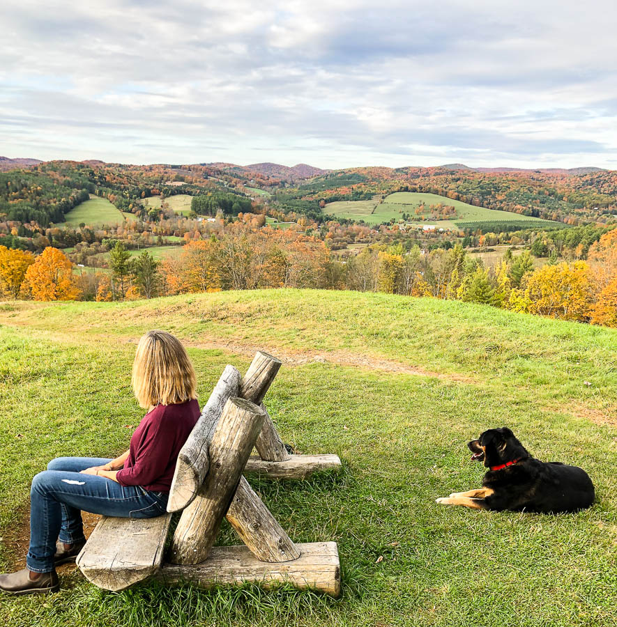 Summit of Mount Tom in fall in Woodstock, Vermont