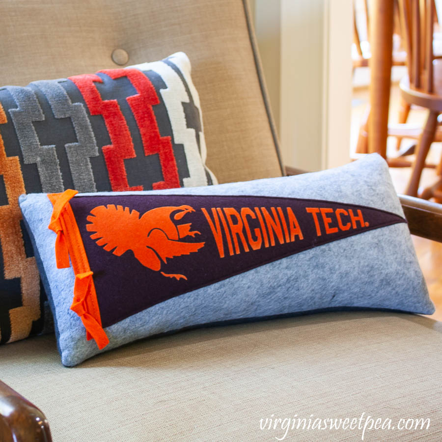 Virginia Tech pennant pillow