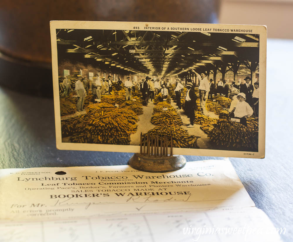 Interior of a Southern Loose Leaf Tobacco Warehouse postcard sent from Raleigh, NC in 1931