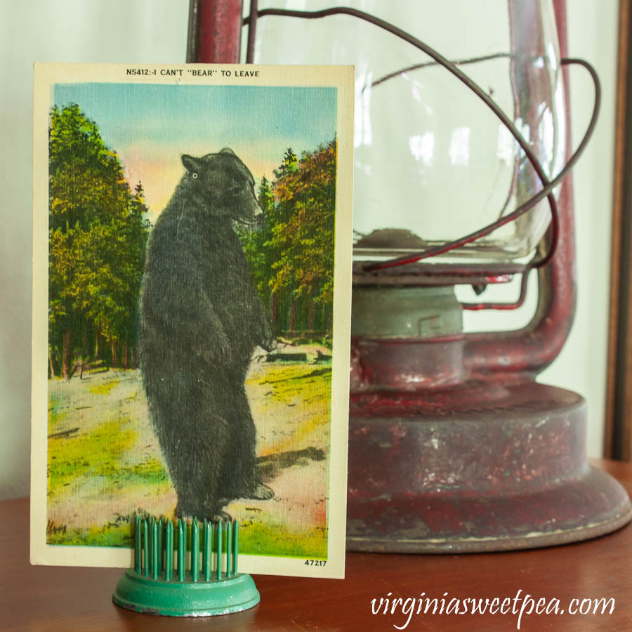 "I Can't ""Bear"" to Leave vintage postcard"