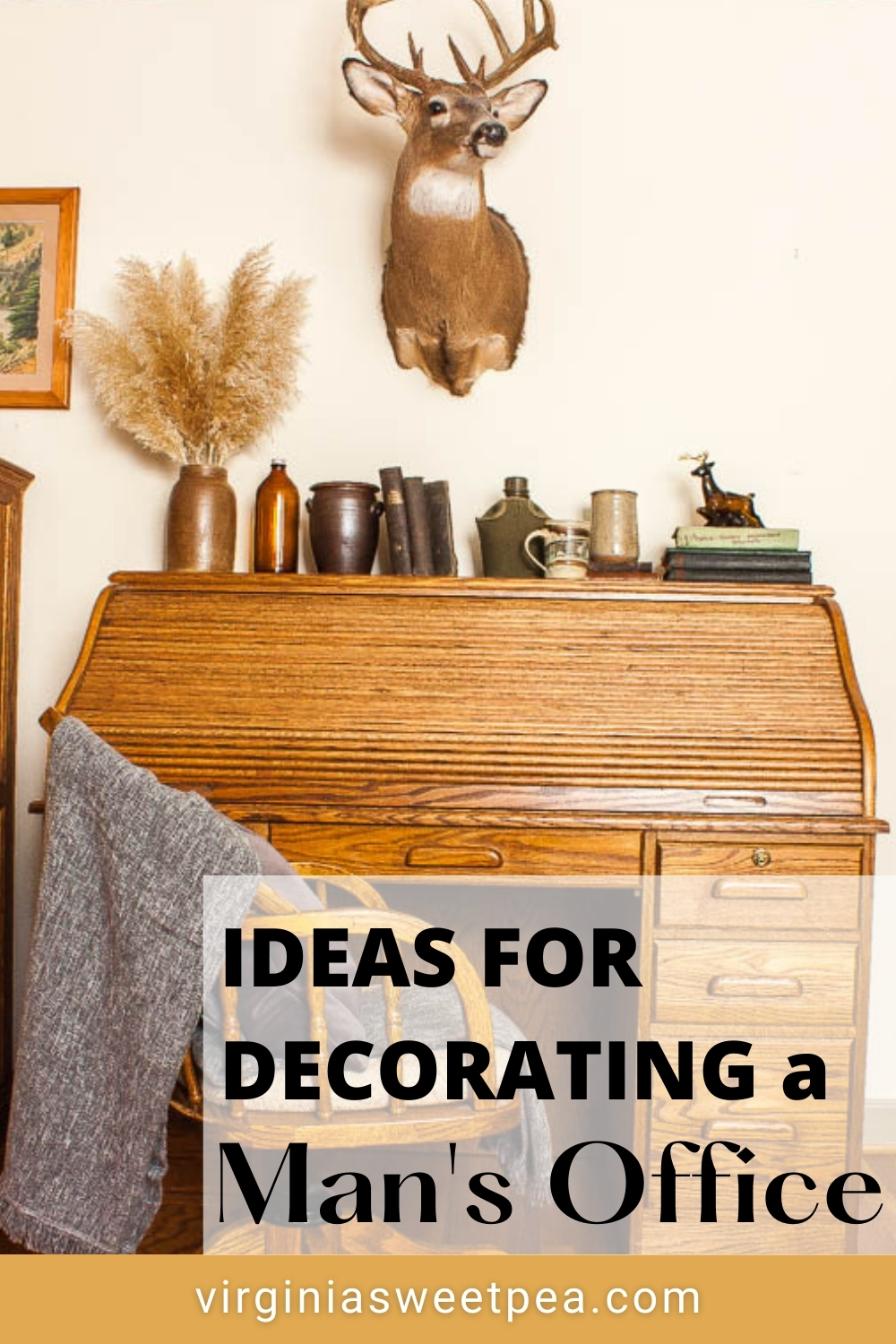 Ideas for Decorating a Man's Desk - See a man's desk  and office decorated with a cozy and masculine cabin feel.  #officedecor #manofficedecor #mandeskdecor via @spaula