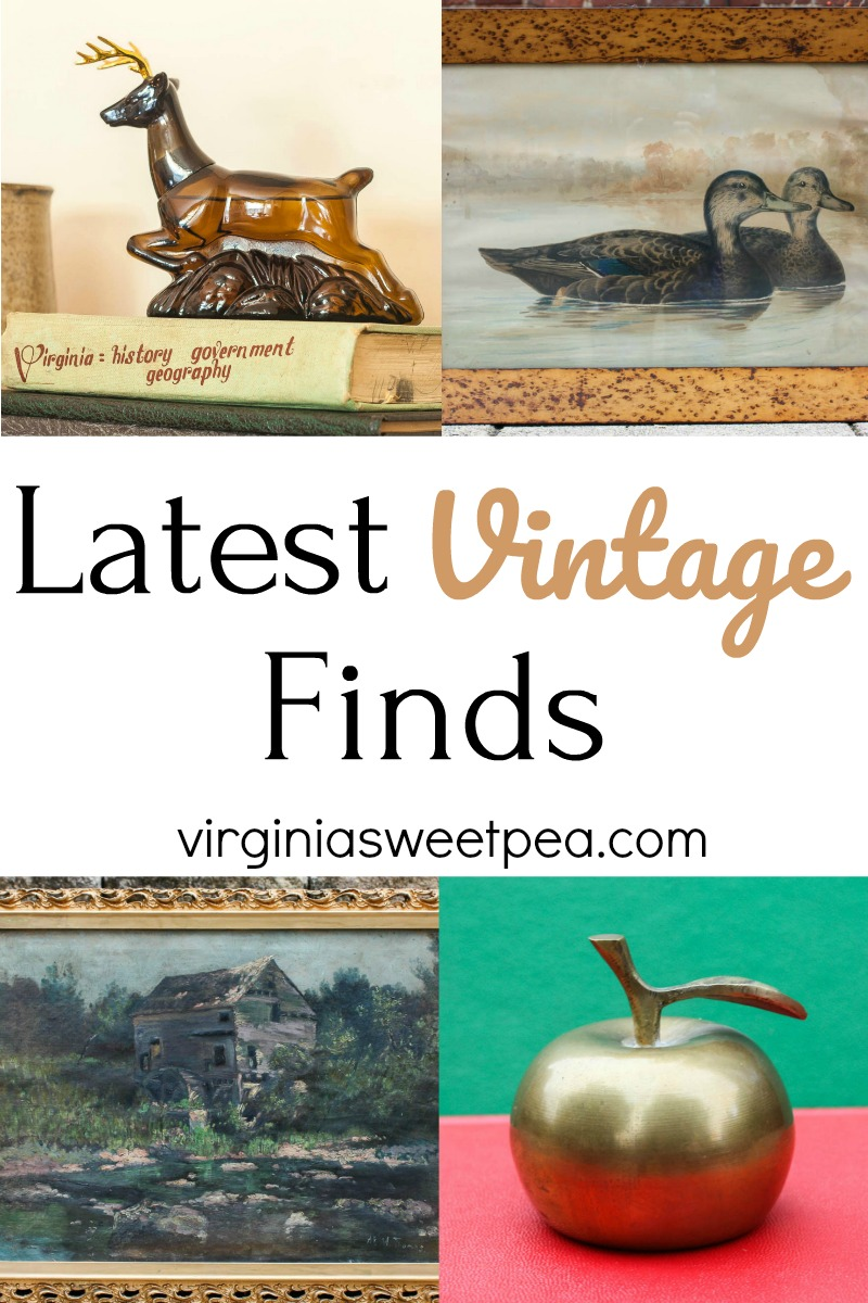 Latest Vintage Finds - See a few vintage finds that were scored by shopping consignment shops, antique stores, and yard sales. #vintage #vintagedecor #vintagepainting #vintagehomedecor #virginiasweetpea via @spaula