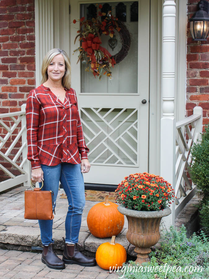 Stitch Fix reCreation Catha Skirted Plaid Top with Vigoss Elaine Distressed Girlfriend Jeans