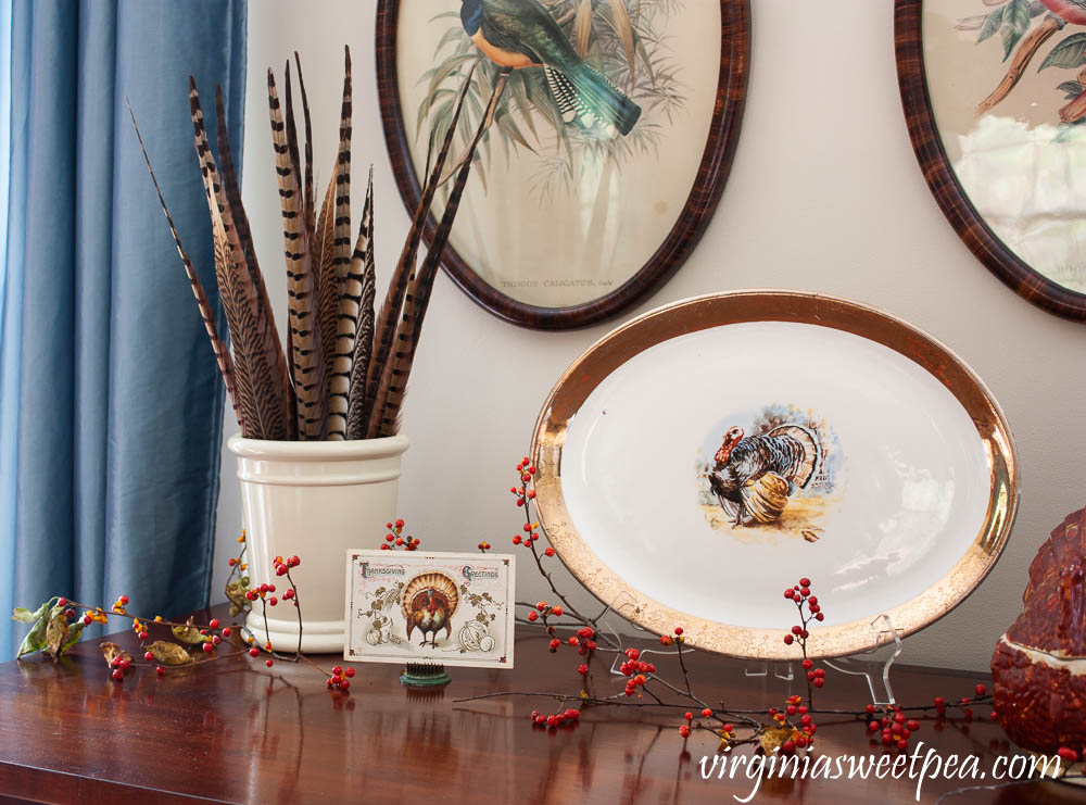 Thanksgiving vignette with a crock filled with pheasant feathers, a Thanksgiving postcard, and a vintage turkey platter.
