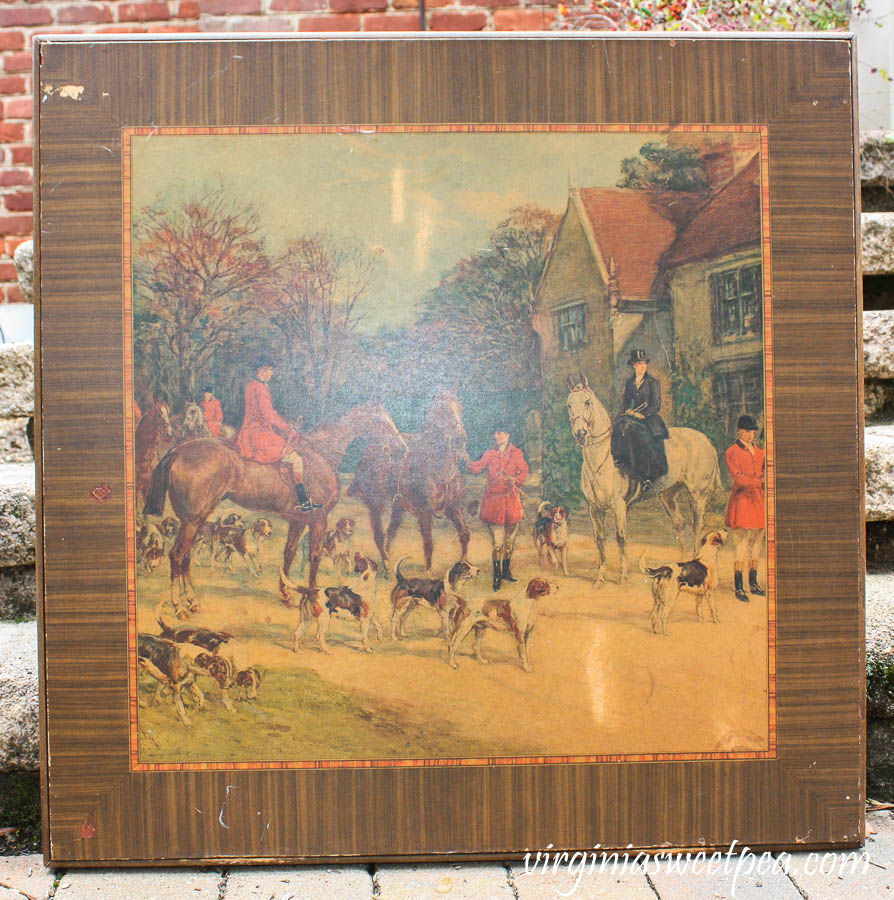 Antique Card Table with Fox Hunt Scene