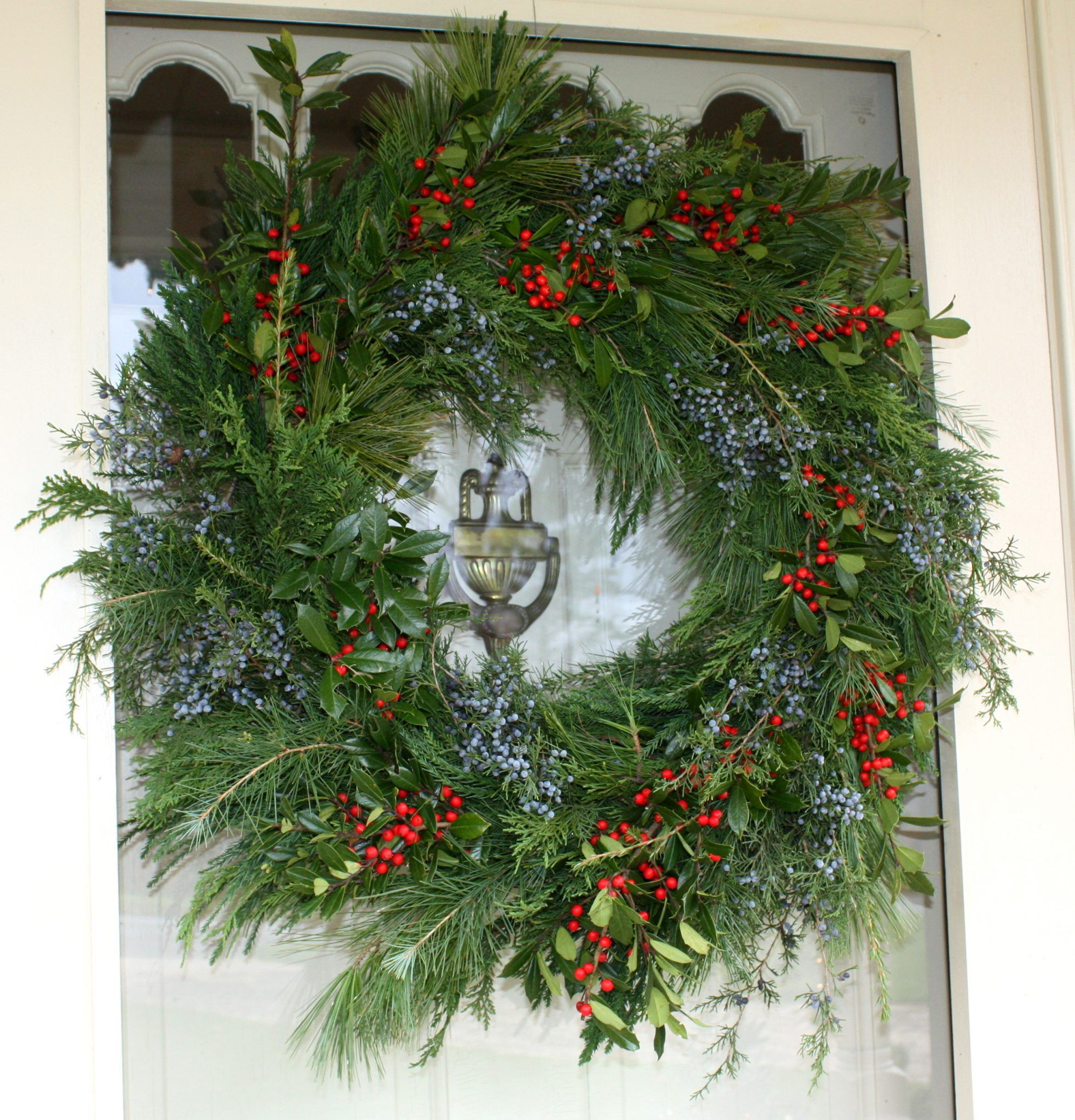 Handmade live greenery Christmas wreath.