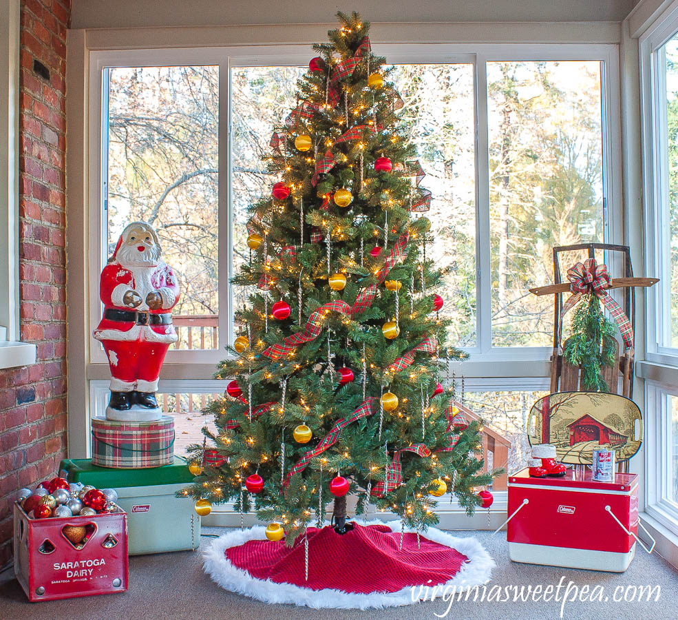 A Very Vintage Christmas on the Porch - An enclosed porch is decorated for Christmas with vintage.