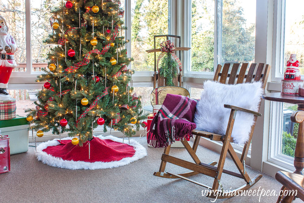 A Very Vintage Christmas on the Porch - A porch is decorated for Christmas with vintage items from the 1950's, 1960's, and 1970's.