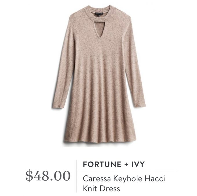 Fortune + Ivy Caressa Keyhole Hacci Knit Dress