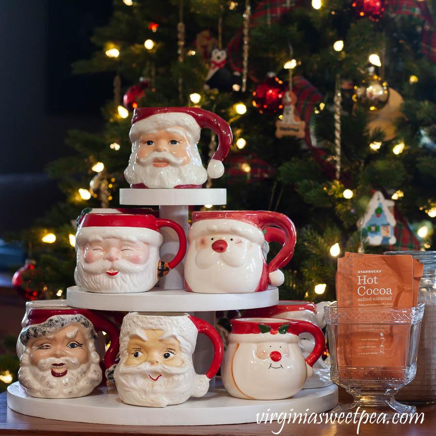 Vintage Santa Mug Collection used on a Hot Chocolate Bar