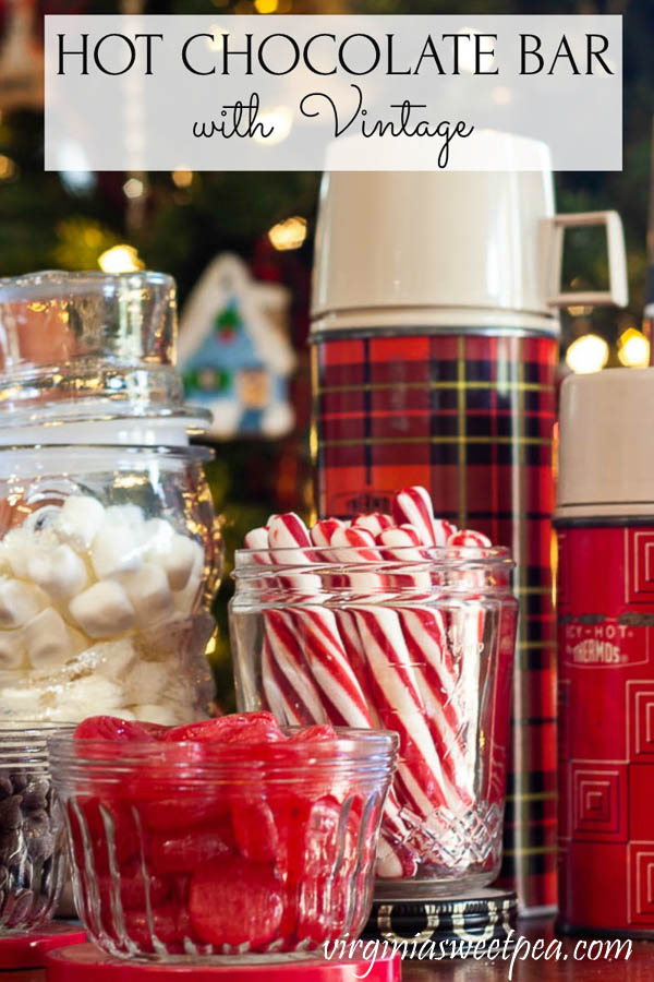 Hot Chocolate Bar with Vintage - Get ideas for setting up a hot chocolate bar with the added charm of vintage.  #hotchocolatebar #hotcocoabar #virginiasweetpea via @spaula